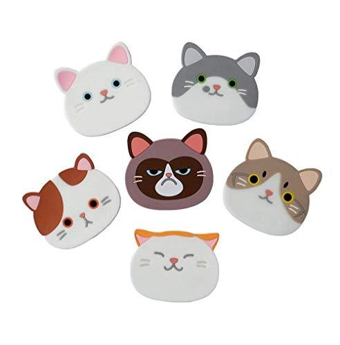 Misswonder 6 x süße Katzen-Untersetzer, Gummimatten für Weinglas, Tee, Kaffee, Haus, Küche,...