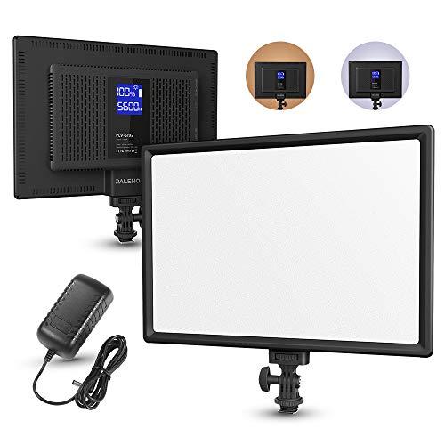 RALENO Panneau LED Lampe Vidéo, avec LCD Ecran Mince et Batterie Intégrée, Réglable 3200K-6500K Bi-Couleur et CRI 95+, pour Tous DSLR Caméra et Trépied