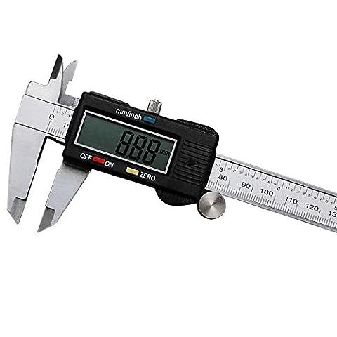 Pied à coulisse digital pouce métrique fractions Conversion 0–15,2cm/150mm avec écran LCD en acier inoxydable électronique Jauge de profondeur de mesure outils par Okpow