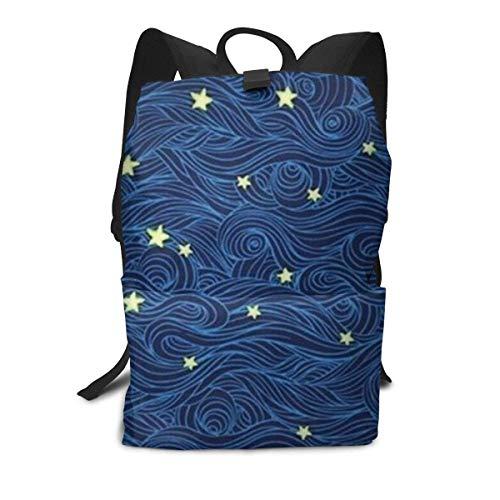 Blauer Wolken-Stern-Rucksack-Mitte für Kinderjugendliche-Schulreisetasche