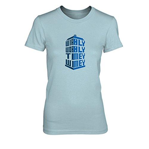 Wimey - Damen T-Shirt, Größe: L, Farbe: hellblau (Matt Smith Kostüm)