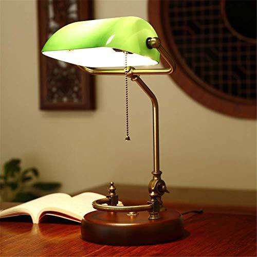 Schreibtischlampe Studie Büro Retro Klassische Schlafzimmer Nachtleselampe Grüne Starke Glasschirm Massivholz Birke Basis Verstellbare Lampe Pole Banker Tischlampe E27 Mit Zugschnurschalter -