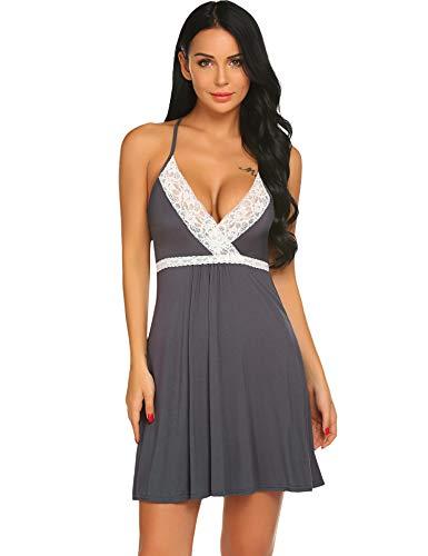 0ed359af89 BeautyUU Damen Nachthemd Negligee Sexy Nachtkleid Baumwolle Unterkleid Kurz  Spitze Nachtwäsche Sommer Bequem V Ausschnitt Trägerkleid