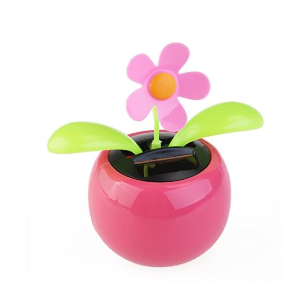 FENICAL Dacing Solar Flower Car Decor Solar Powered Happy Dancing Flower in the Pot Office Desk Display (Pink) 3