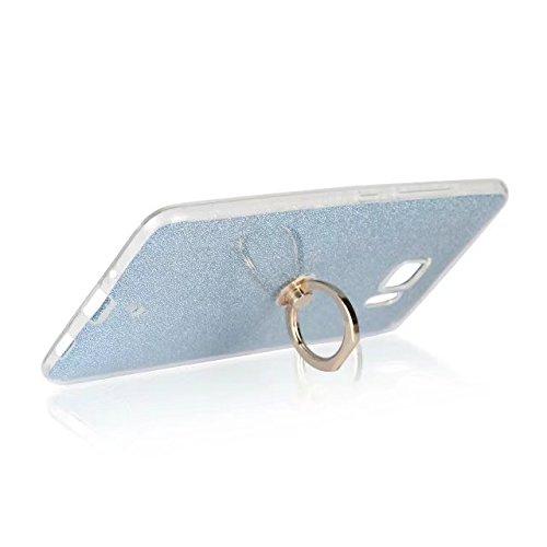 Luxus Bling Sparkle Style Case, Soft TPU [Silikon] Flexible Glitzer Rückentasche mit Fingerring Stand [Anti Scratch] [Shockproof] für HTC U Ultra ( Color : Black ) Blue
