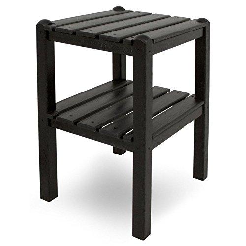 CASA BRUNO Beistelltisch mit zwei Böden, 48x36x58 cm, aus recyceltem Poly-HDPE Kunststoff, schwarz - kompromisslos wetterfest