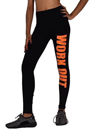 Bigood Femme Pantalon Leggings Yoga Collant Elastique Slimmer de Sport Imprimé Orange