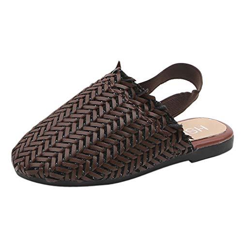 Pantofole Donna - Sandali per Bambina Ragazze Scarpe Eleganti Bellissime Piatto Spiaggia Punta Casual Bambine E Bambino Tessute Vintage Principessa(33,Marrone)