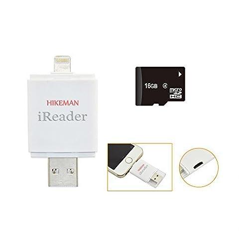 HIKEMAN iReaderi-FlashDriveHDMicroSDKartenleser MemoryStickSpeichernFotos/VideosExtraSpeicherfürIhriPhone/iPadvielEinfacherHinzufügen DiefüriPhone5s/6/6s/6Plus/6sPlus-16GB TF (Spiel Des Jahres Liste)
