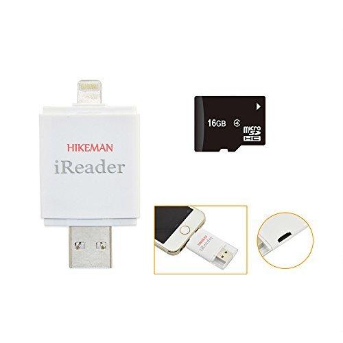 16gb Sd Memoria Micro (HIKEMAN iReaderi-FlashDriveHDMicroSDKartenleser MemoryStickSpeichernFotos/VideosExtraSpeicherfürIhriPhone/iPadvielEinfacherHinzufügen DiefüriPhone5s/6/6s/6Plus/6sPlus-16GB TF tarjeta)