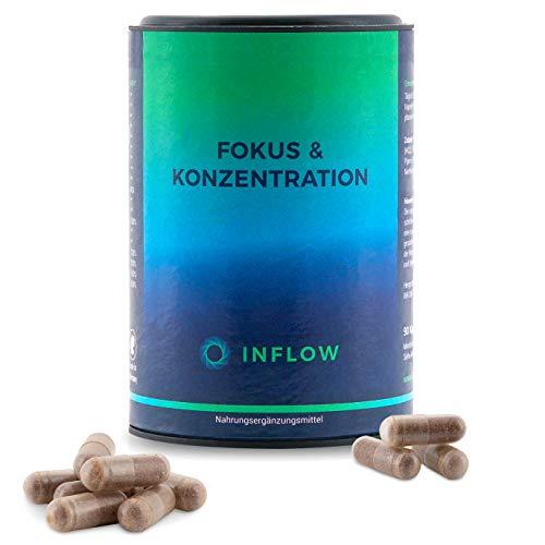 INFLOW Fokus & Konzentration - Brain-Booster Tabletten für Gehirn & Gedächtnis | 90 Nootropic-Kapseln mit Alpha-GPC - Faktoren, 90 Kapseln