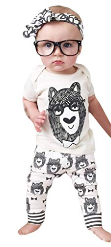 YiyiLai YiyiLai In-Outdoor Sommer Frühling Kind Neugeborene Kurzarm Playsuit Kleidung Set Outfit Babykleidung Shirt+Hosen Weiss 80