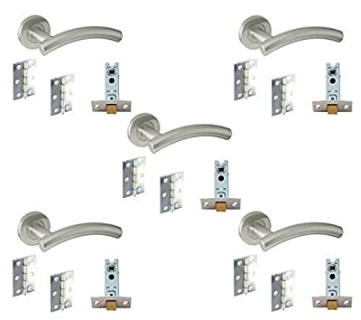 5 Set's Door Handle Pack Internal C/w Latch Hinges Arched Lever Furniture Stainless Steel - inexpensive UK door handle store.