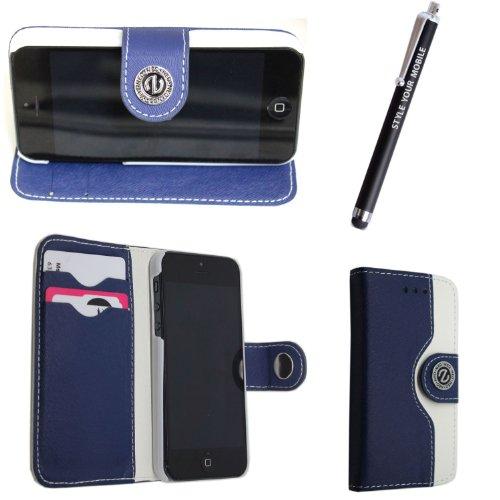 Flip Case für iPhone 5 und iPhone 5s aus PU-Leder, verschiedene Motive, gratis Eingabestift Blue & White Book Flip