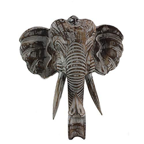 Decoración de la Pared Decoración de la Pared Elefante Elefante Cabeza Elefante Albesia Madera/Madera Blanda Máscara Hecha a Mano Elefante Grande con Soporte de Pared Harken