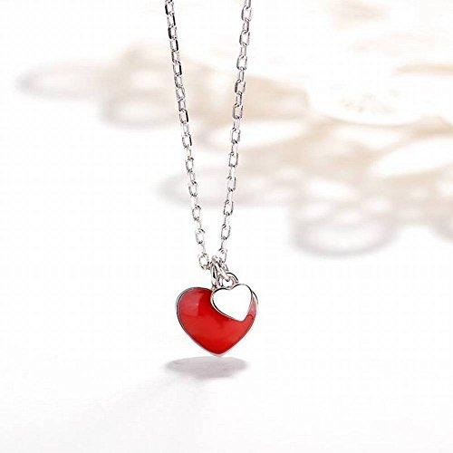 S925 Sterling Silber Halskette Weibliche Kleine Rote Liebe Halskette Niedliche Doppelte Herz Kurze Schlüsselbein Kette, Kettensätze