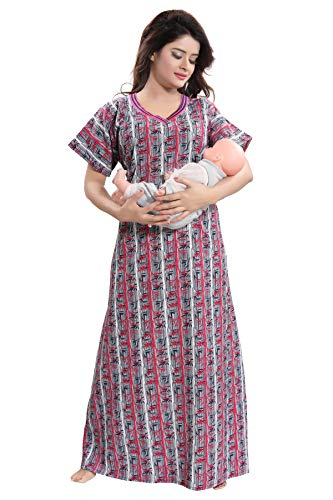 TUCUTE Women's Cotton Printed Feeding/Maternity/Nursing Nighty (Grey-Pink-2712)