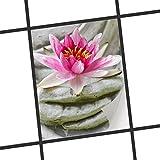 creatisto Fliesendekor Klebefolie   Fliesen-Sticker Aufkleber Folie selbstklebend Bad renovieren Küche Wanddekoration   15x20 cm Design Motiv Flower Buddha - 1 Stück