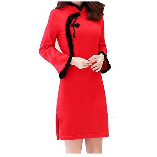 ALUK- Stile cinese - Maglione basa la camicia spessa Autunno Inverno Cheongsam vestito dal maglione a manica lunga ( colore : Rosso , dimensioni : S. )