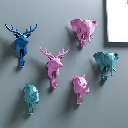 Gu3Je Selbstklebende Haken, Pack 3adhesive Wandhalter Kreative Dekorative Tierkopf Haken Hirschkopf Kleiderhaken Wohnzimmer Hause Lagerregal Dunkelblau Elch -