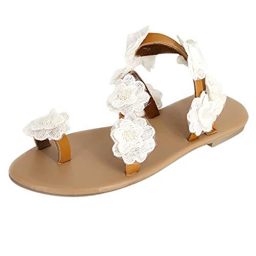 VECDY Damen Sandalen Herren Schuhe Sommer Womens Toe Flower Flache Unterseite Schuhe Sandalen Open Toe Rom Hausschuhe 35-43