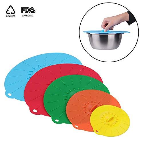 HanDingSM Silikon-Saugnapfdeckel, 5 verschiedene Größen, gepresst, wiederverwendbar, spritzwassergeschützt, für Pfannen, Schüsseln, Behälter und Tassen