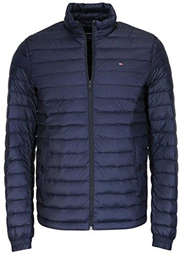 Tommy Hilfiger Herren Bomberjacke Core LW Packable Down Bomber, Blau (Sky Captain 403), Medium