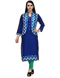 Aadhunik Libaas Women's Cotton Printed Jacket Kurta Long Top Full Sleeves