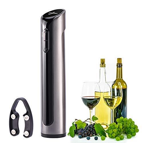 Hovinso Elektrischer Flaschenöffner, Korkenzieher Elektrisch Set mit Folienschneider, Ideal für Gummi/Kunststoffkorken/Großformat-Flaschen (Grau) (Elektronischer Korkenzieher)