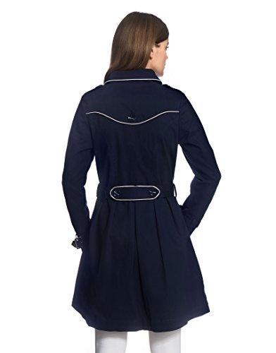 Vincenzo Boretti Damen Trenchcoat 100% Baumwolle Mantel Übergangs-Jacke modern elegant Übergang Style für Frühling Herbst Sommer sowie Business und Freizeit dunkelblau XS - 2
