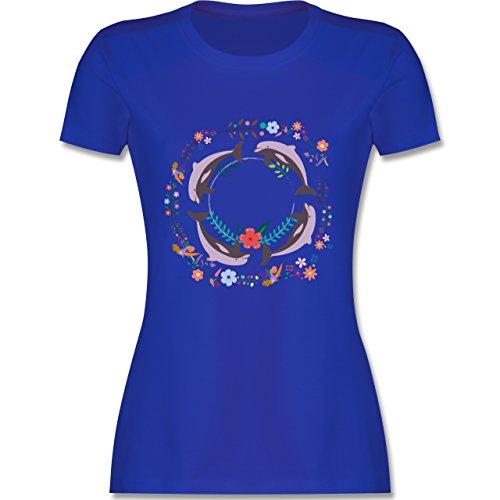 Vintage - Vintage Delfine Blumen Dolphin Flowers - tailliertes Premium T-Shirt mit Rundhalsausschnitt für Damen Royalblau