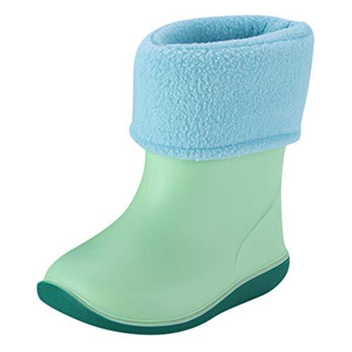 WEXCV Kinder Baby Schuhe Jungen Mädchen Halbschaft-Gummistiefel aus Naturkautschuk Nette Unisex Plus Samt Regenstiefel Schneestiefel Winter warme Boots