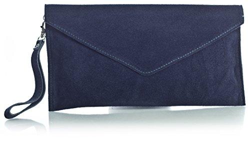 BHBS Femmes Enveloppe en Forme de Cuir de Daim Italien Soirée Pochette 30.5 x 16 cm (LxH)