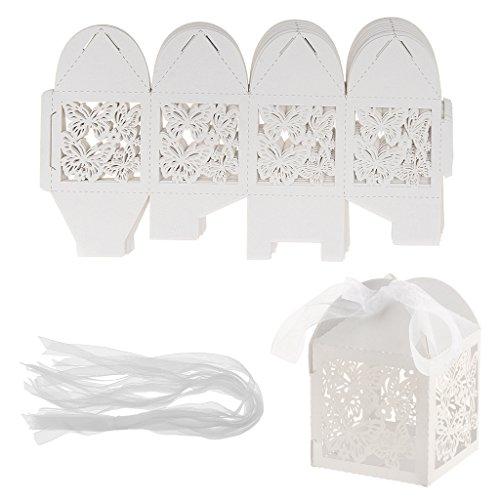 terling Süßigkeit Box Hochzeit Party Bevorzugung Geschenk Box Cookie Tasche - Weiß, 5 x 5 x 7,5 cm (Cookie-bevorzugung Taschen)