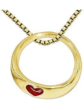 CLEVER SCHMUCK-SET Goldener Mini-Taufring Ø 9 mm schmale flache Form mit kleinem Herz rot glänzend 333 GOLD 8...