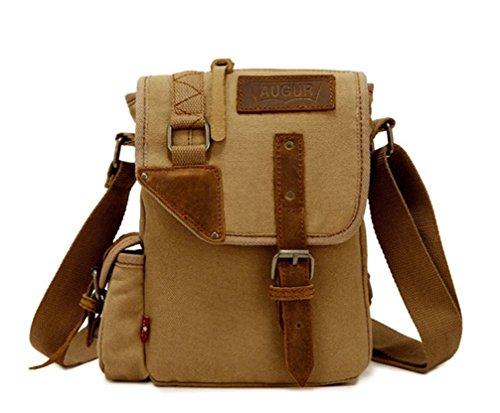 Tiny-Vintage Canvas Messenger Bag Casual Schultertasche Business Tasche für Herren, Khaki (Khaki) - 8620js Khaki