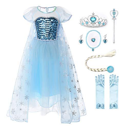 Kostüm Elsa Party - JerrisApparel Mädchen Prinzessin ELSA Kostüm Paillette Tüll Party Kleid mit Ärmel (4 Jahre, Kurz Ärmel mit Zubehör)
