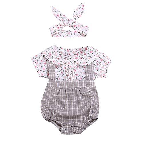 Neugeborenes Baby Mädchen Kleidung Set Kurzarm Shirt Top und Bloomers Strap Hosenträger Short Pant 2 Stück Outfit -