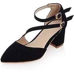 Swallowuk Schnalle klobige heels Schuhe flachen Mund wies high Heels Damenschuhe/Shallow Mund spitz hochhackige Frauenschuhe (36, Schwarz)
