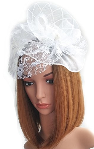 Womens Fascinator Hut Haarclip Perlen Schleier für Cocktail Headwear Party Kopfschmuck (Weißer Hut Schleier Rosa Mit Mini)