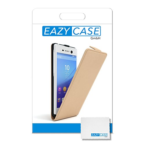 Sony Xperia M5 Hülle - EAZY CASE Premium Flip Case Handyhülle - Schutzhülle aus Leder in Schwarz Hellbraun (Flip)