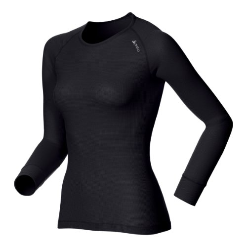Odlo Damen Shirt Long Sleeve Crew Neck Cubic ebony grey - black