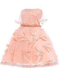 XFentech Vestido de Fiesta de Cumpleaños para Infantil Niñas - Vestido de Princesa Sin Mangas Estampado