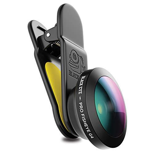 Black Eye Pro Fisheye G4 Fischaugen-Objektiv, optimiert für neuere Handys (175° Perspektiven-Look, Clip-Befestigung, 3-fache Antireflex-Beschichtung, Funktioniert auch mit MultiCams & Frontkameras)