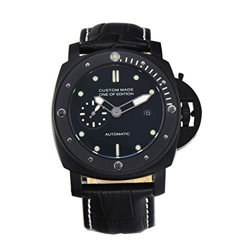 PARNIS-MM 9511 deutsche Edition Herrenuhr Automatik-Uhr 47mm PVD-Edelstahl Drehlünette Leder Mineralglas 5BAR Seagull Uhrwerk mit Datumsanzeige