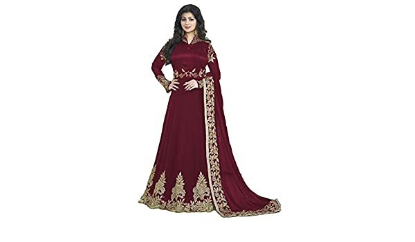 304fcfec38 Readymade Partywear Indian/Pakistani Salwar Anarkali Suit SF-116F4F11 (Small,  Maroon): Amazon.co.uk: Clothing