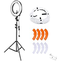 Neewer 50W Continuous Dimmable Lighting Kit, 14-inch Outer 10-inch Inner Fluorescent Ring Light with Light Stand,Cell Phone Holder,Diffuser, Color Filter for Selfie Photography Video Shooting(UK)