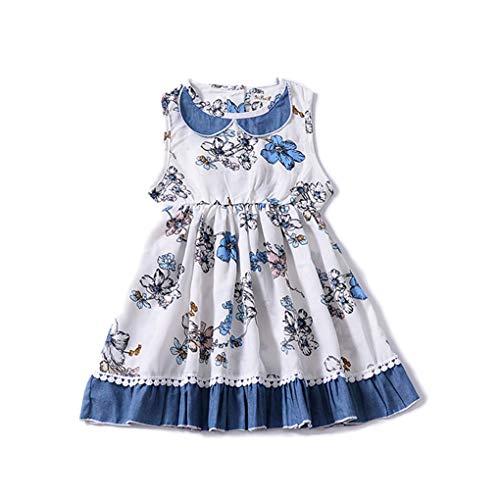 Techting Kinder mit Blumenmuster-Minikleid-Sommer-Scoop Neck Sleeveless Kleid-Baby-Flowy Causal hohe Taillen-Stil Flowy Sleeveless