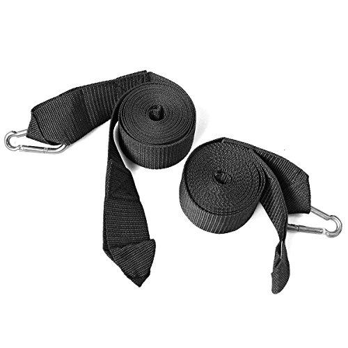 1 Paar Aufhängeset Befestigungsset für Hängematten aus Nylon mit 2 verriegelnde Karabinerhaken, max.Belastbarkeit 400kg, verstellbar