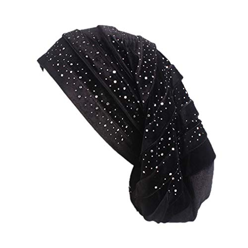 t Sleep Cap mit Strass, Damen Nachtmütze Long Tail Turban Cap Dreadlock Cap für Chemo, Haarausfall,EINWEG Verpackung ()